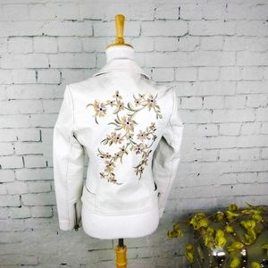 Driftwood Floral Faux Leather Moto Jacket Cream S